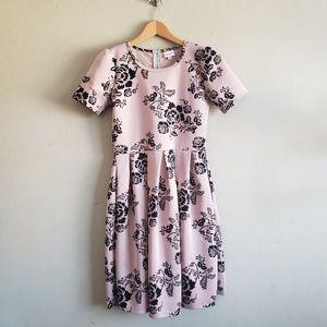 Lularoe Amelia Pink and Black Dress w Pockets Med